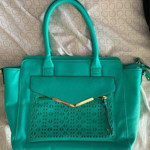Greenish blue and gold Bag